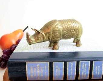 Brass Rhino Figurine Statute, Vintage, Rhinoceros ... Brass Safari Animal, Paperweight, Solid Brass Decor