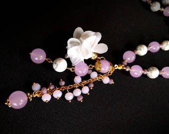Lilac Jade/ Howlite/ Floral Necklace