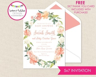 Watercolor Baby Shower Invitation, Baby Shower Invitation, Watercolor Flowers, Peach Watercolor, Lauren Haddox Designs