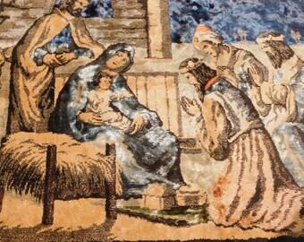Vintage Velvet Tapestry Baby Jesus In The Manger, Velvet Rug or Wall Hanging, Religious Decor