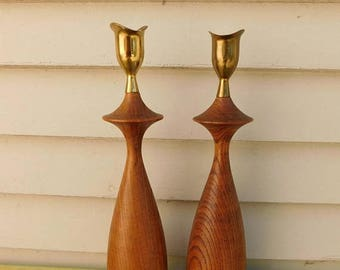 Birthday Sale Mid Century Modern Hand Carved Hardwood and Brass Candlestick Holders, Serv Wood Taper Holders from Japan