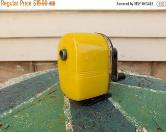 Birthday Sale Vintage Sears Industrial Pencil Sharpener, Bright Yellow Lucite and Metal Wall / Desk Mount Pencil Sharpener