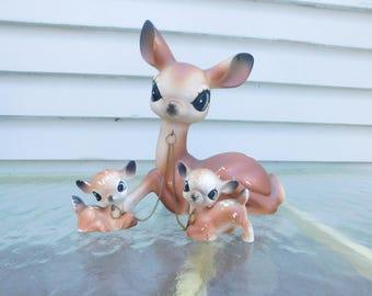 Vintage Ceramic Mama Deer with Babies, Big Eyed Doe, Fawns, Deer Lover