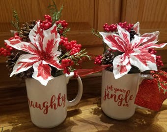 Handmadefun Christmas mug floral!  Four different verses available!  Pinecones, red and white poinsettias!  Written on both sides of the mug