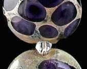 Purple bead set Purple lampwork glass beads Purple lentil beads Purple glass beads flat beads Sea Rocks Anne Londez SRA OOAK