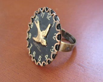 Black Betty Ring - Bird Watch Movements Ring - Size 5-9 Steampunk Ring - Wings of Time -Unique Ring ready to ship