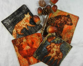 Quilted Coasters (4) -  Forest Animals #4