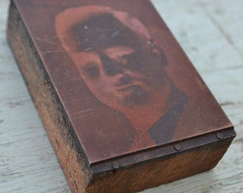 Vintage Antique Photo Photography Male Man Letterpress Printing Block
