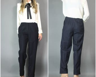 Vintage 80s 90s Pants Liz Claiborne Navy Pinstripe Wool Trouser Tailored Cuffed Pockets Elegant Pant