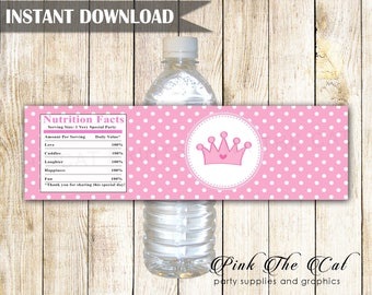 Princess Birthday Party Water Bottle Labels - Polka Dots Pink Princess Bottle Labels Princess 1st Birthday Party Favors INSTANT DOWNLOAD