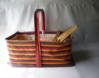 Vintage Cloth and Metal Market Carrier Basket