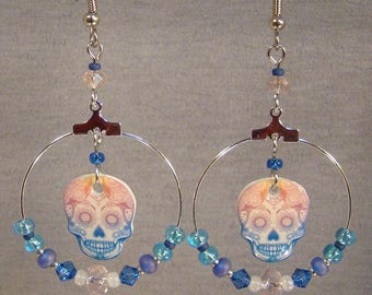 Pastel Sugar Skull Beaded Hoop Earrings - Day of the Dead Jewelry - Biker Skulls Jewellery