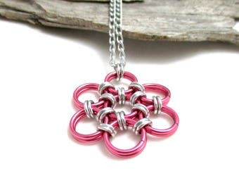 Dark Rose Pink Chainmaille Necklace - Flower Pendant - Chainmaille Flower - Chainmaille Necklace - Chainmaille Jewelry - Japanese 12 in 2