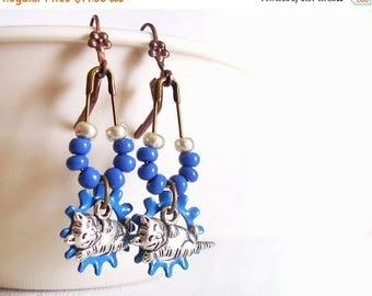 SALE Industrial Blue Cat Dangle Earrings, Kitty Cat Chandelier Earrings, Gift For Mom, Steampunk
