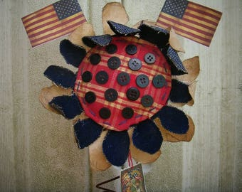 Primitive 4th of July Sunflower Shelf Sitter Cupboard Tuck Rusty Spring Flags Buttons Vintage Picture
