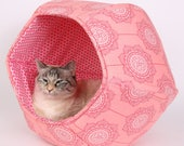 Pink Floral Cat Bed, Princess Cat Bed - The Cat Ball made in cute pink flowers and polka dots cotton fabrics