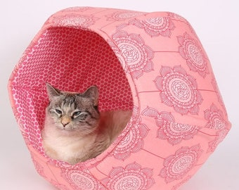 Summer Sale Pink bubble cat cave bed - designer cat bed - modern cat bed - covered cat bed - modern cat house - The Cat Ball in pink flowers