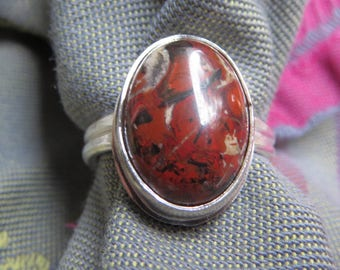 Red Poppy Jasper in Argentium Sterling Ring Size 10 and a Half