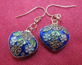 Cobalt Blue Floral Heart Earrings in Chinese Cloisonne Enamel