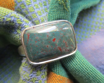 Rectangular Green & Red Bloodstone in Argentium Ring Size 10 and a Half