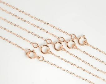 """5 pcs: 18"""" dainty 14K rose gold filled chain, finished, 18 inches flat cable chain, 1.2x1.5mm link, with spring ring clasp"""