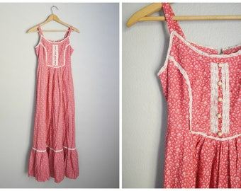 vintage 70s  mauve pink summer bohemian floral maxi summer sundress sleeveless dress -- womens xxsmall - 30-24- free
