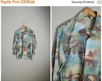 Summer SALE - 20% off - vintage european gaudy ships painting shirt -- mens med - large