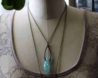 Raw Crystal Necklace, Boho Necklace,Long Layering Necklace,  Raw Gemstone Jewelry, Raw Stone Jewelry, Aqua Quartz, Natural Glam Jewelry