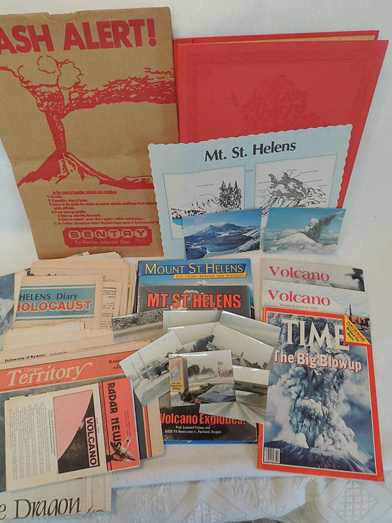 Huge Lot Of Mount St. Helens Volcano Memorabilia.. Unique Items, Books & Photos