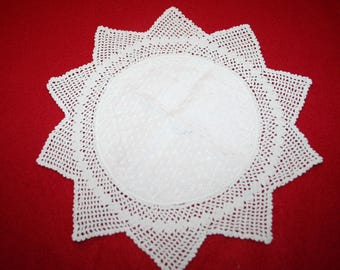 Vintage Fabric & Crocheted Lace Doily- 9 inches