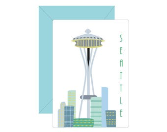Retro Seattle Skyline