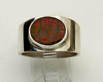 Ammolite Ring Size 8 1/2 in Sterling Silver