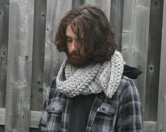 Unisex Scarf, Large Chunky Scarf,Open Ended Scarf, Ribbed Winter Scarf/Marble Grey/THE CAMENDOOR SCARF