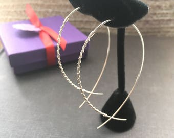Large Silver Hoop, Silver Fish Hoop, Extra Large Hoop, Silver Wire Earrings, Delicate Silver Hoop, 3""