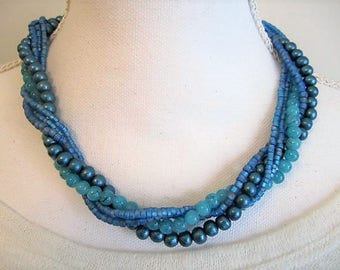 Teal Multi Strand Interchangeable Necklace Set Closing Coupon Sale, Multi Wear, Detachable, seed beads, glass beads, 5 strands, mix & match