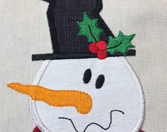 Snowman Primitive Christmas Winter Applique Embroidery Design 5x7 6x10 8x8 8x12