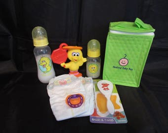 Reborn baby Complete Grab and Go Sesame Street Diaper bag doll milk bottle Elmo brush & comb set magnetic pacifier diapers Big Bird rattle