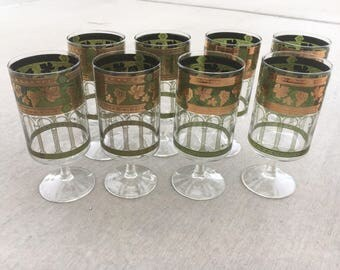 Set of 8 - Perfect Mid Century Toasting Goblets - Vintage Glassware by Cora - Stunning Collectors Pieces, Unique Glasses