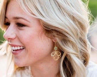Mint Dangle Earrings in Gold. Mint Multiple Teardrop Gold Drop Earrings.  Mint Jewelry. Bridesmaid Earrings. Gift Her. Chandelier Earrings.