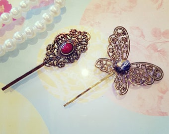 Vintage Butterfly and Antique Style  Hair Pins, Bridal Hair Pins, Bobby Pins,  Bridal Hair Pin Set