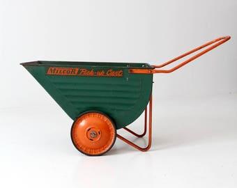vintage Milcor pick-up cart, garden wheelbarrow,