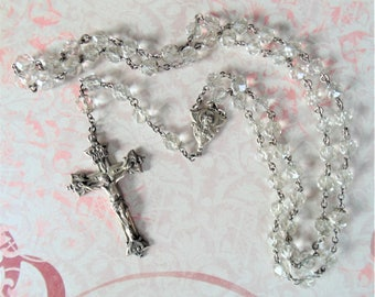 Beautiful Vintage Hayward Sterling Silver Crucifix & Crystal Rosary With Madonna And Child Baby Jesus