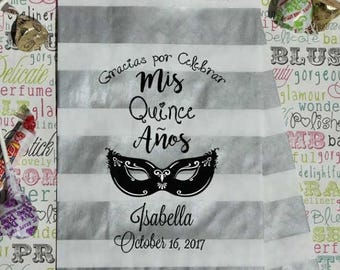 "GLAM SALE 50 Personalized Quinceanera Candy Bags, ""Gracias Por Celebrar Mis Quince Anos"", Sweet 15 Favor Bags, Cookie Bags, Popcorn Bags"