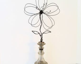 Art Wire Flower Photo Holder in Repurposed Vintage Glass Lamp Base