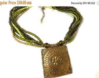 CLEARANCE SALE Green Necklace Vintage Gold Pendant Etruscan/Aztec