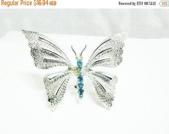 SALE 1950's Butterfly Brooch Silver Ice Blue Rhinestones Textured GERRY'S