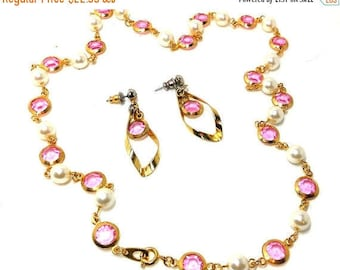 PINK Necklace and Earrings Swinging 60s Channel Set Crystals pearls Fashion