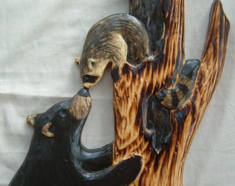 BLACK BEAR CUB & raccoon Wood Carving Chainsaw Log Cabin Decor Wall Art Wood