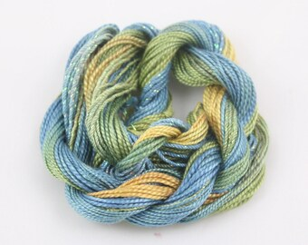 Ocean Blue Green Gold Embroidery thread Cotton Perle crochet tatting weaving supply size 8 and 5 metallic sewing thread variegated hand dyed