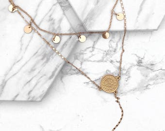 Gold Circle Lariat, Layered Necklace, Gold Y Necklace, Modern Lariat, Circle Chain Necklace, Modern Necklace, Layering Necklace, Minimal